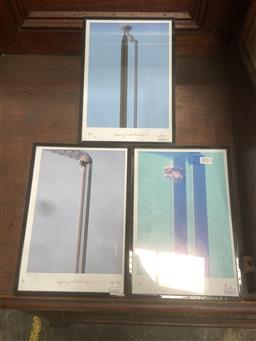 Sale 9101 - Lot 2043 - Christopher Holland (3 works) Impossibly Tall Building I,II,III photograph 31 x 22cm frame -