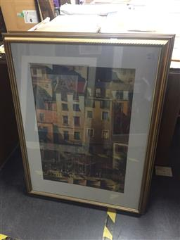 Sale 9135 - Lot 2064 - Pair of gilt framed Decorative Prints depicting Mediterranean Houses and a Still Life -
