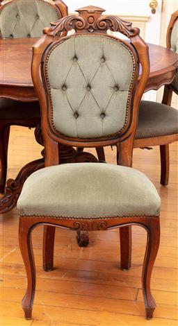 Sale 9190H - Lot 133 - A set of four button back dining chairs with sage green buttonback upholstery, Height of back 108cm