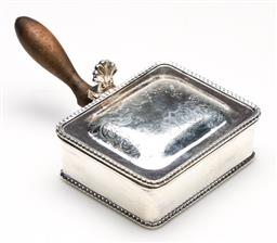 Sale 9253 - Lot 273 - A silverplated silent butler with turned timber handle (L:14cm)