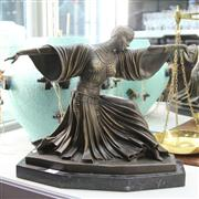 Sale 8379 - Lot 31 - Bronze Figure on Marble Base; Lady Posing with Arms Outstretched; H35cm x  W41.5cm