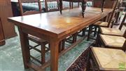 Sale 8402 - Lot 1024 - Oak and Beech Refectory Style Table with Chamfered Legs