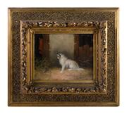 Sale 8473A - Lot 29 - Langlois, C19th British School - Terrier in a Barn 20 x 25cm