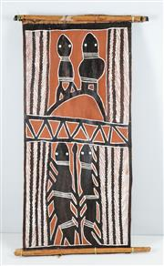 Sale 8513A - Lot 5076 - Nadj Wurramara - Bark Painting - Frogs and Snakes, 1984 93.5 x 43.5cm