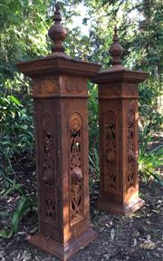 Sale 8579 - Lot 12 - A pair of decorative cast iron gate posts with surface rust, H 158cm
