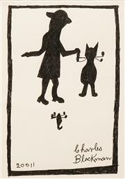 Sale 8642 - Lot 527 - Charles Blackman (1928 - 2018) - Girl and Cat 28.5 x 20cm