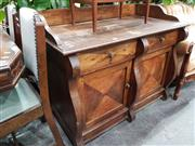 Sale 8769 - Lot 1090 - Rustic Timber Sideboard with Gallery Back, Two Drawers & Doors