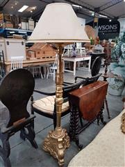 Sale 8814 - Lot 1047 - Baroque Style Gilt Floor Lamp, with turned carved column & triform base, with cream shade