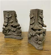 Sale 8972H - Lot 32 - Two 19th Century carved Walnut corbels Height 45cm