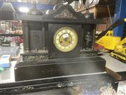 Sale 9068 - Lot 1037 - Victorian Slate Mantle Clock, of architectural with three cupolas, the centre enamelled chapter ring flanked by columned niched with...