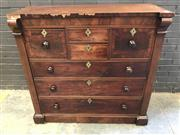 Sale 9068 - Lot 1026 - Early Victorian Mahogany Chest of Seven Drawers, with two cross-banded hat drawers, two short & three long drawers, flanked by pilas...