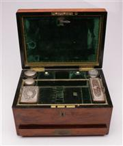 Sale 9064 - Lot 16 - Mahogany Vanity Case with Brass Inlaid Complete with Fitted Interior and Drawer (no key) H17cm x W31.5cm x D22.5cm