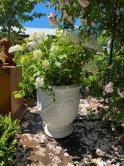 Sale 9087H - Lot 217 - A pair of French style anduze urns planted with Hydrangeas. 60 cm height of pot, 1.35m total height, 55 cm diameter