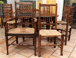 Sale 9120H - Lot 212 - A set of seven elm spindle back dining chairs comprising of a carver and six other, Height of back of carver 105cm, other 97cm losse...