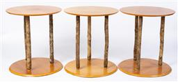 Sale 9130S - Lot 47 - A set of six timber circular top and based occasional tables with branch form horizontal shrub supports Height 66cm x Diameter 60cm
