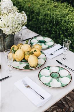 Sale 9135H - Lot 22 - Vintage French majolica seven piece oyster service in a green with white glaze, one large serving platter Diameter 34cm and five ser...