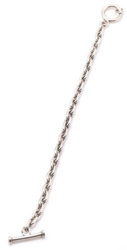 Sale 9149 - Lot 523 - A SILVER TOGGLE BRACELET; 6mm wide cable links to toggle claps, length 19cm, wt. 22.30g.