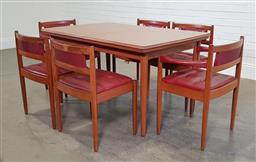 Sale 9188 - Lot 1218 - Vintage Chiswell seven piece dining setting (h:73 x l:136 x w:96cm)