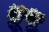Sale 3808 - Lot 551 - A PAIR OF SAPPHIRE AND DIAMOND CLUSTER STUD EARRINGS;