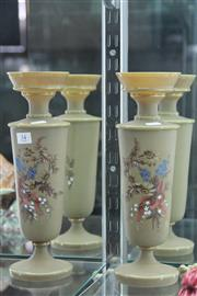 Sale 7989 - Lot 34 - Pair of Edwardian Glass Vases with Hand Enamelled Floral Designs