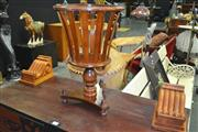 Sale 8175 - Lot 1013 - Pair of Timber Corbals & Timber Plant Stand