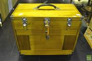 Sale 8305 - Lot 1034 - Timber Jewellery Case with Key