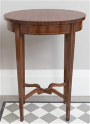 Sale 8470H - Lot 7 - A pair of oval marquetry occasional tables with tapering legs in stretcher base, H 76 x W 55 x D 39cm