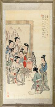 Sale 8536 - Lot 61 - Framed Chinese block print, depicting a group of young ladies playing music instruments, signed, framed size H101cm, W52cm