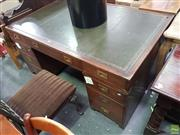 Sale 8601 - Lot 1090 - Green Leather Top Partners Desk on Twin Pedestal Base