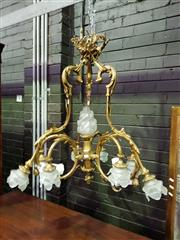 Sale 8634 - Lot 1085 - Good Rococo Style Brass Chandelier, with ribbon tied crown suspending three scrolled arms each with three floral glass shades, the c...