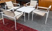 Sale 8746 - Lot 1026 - Four B & B Italia Outdoor Chairs & Coffee Table, in white powdercoated aluminium, the fabric brown leather stripes, the chairs with...