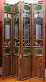 Sale 9020H - Lot 30 - A four panel Chinese screen with pressed stained glass panelling H-268cm each panel 50cm wide