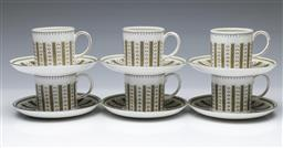 Sale 9098 - Lot 412 - Set of six Susie Cooper cups and saucers