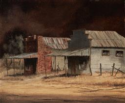 Sale 9109A - Lot 5086 - Clarrie Cox (1927 - 2013) Old Country Cottages, Ulan, Mudgee oil on board 37 x 45 cm (frame: 47 x 55 x 3 cm) signed lower left