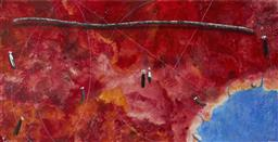 Sale 9161 - Lot 539 - COLIN PASSMORE (1950 - ) Great Southern Land acrylic on canvas 150 x 300 cm signed lower right, titled lower left