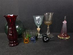 Sale 9254 - Lot 2152 - Coloured Glass incl Antique Japanese Fishing Buoy, Epergne Trumpet, 2 Glasses, 5 Nip Glasses, a Bird Figure & a Vase