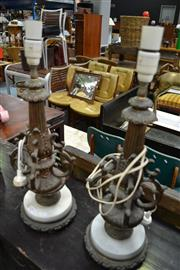 Sale 8013 - Lot 1291 - Two Marble and Brass Table Lamps