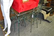 Sale 8115 - Lot 1250 - 5 Piece Metal Outdoor Setting incl. Glass Top Table & 4 Chairs