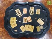 Sale 8499 - Lot 1074 - Ebonised Tole Tray with Card Games Theme, monogrammed to reverse HW & dated 1998