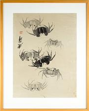 Sale 8536 - Lot 62 - Framed Chinese painting of crabs, signed, framed size H85cm, W68cm