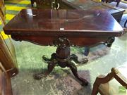 Sale 8539 - Lot 1093 - Early Victorian Rosewood Card Table, with carved apron, green felt interior & faceted baluster pedestal with outswept legs, W 91cm