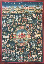Sale 8575H - Lot 47 - A French Gobly tapestry, Mille Fleur 100 x 75cm, together with wicker baskets, bamboo style bowls and other picnic wares