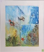 Sale 8600 - Lot 2042 - Artist Unknown Aquatic Life, watercolour, 90 x 80cm (frame) signed lower left