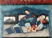 Sale 8838 - Lot 543 - Artist Unknown - C19th Chinese Trade Painting of Mother and Suckling Child 54 x 74cm