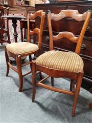 Sale 8848 - Lot 1041 - Set of Four French Provincial Walnut & Beech Chairs, with shaped backs, upholstered seats & splayed legs