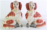 Sale 8931B - Lot 663 - Large Staffordshire pair of King Charles spaniel figures (height - 34cm)