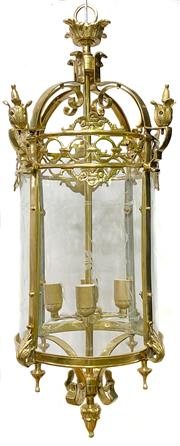 Sale 8972H - Lot 10 - A French style brass hall lantern, Height 87cm