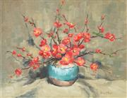 Sale 9038A - Lot 5058 - Olive McAleer (1933 - ) - Cherry Blossoms 34 x 44.5 cm (frame: 52 x 62 x 4 cm)