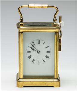 Sale 9192 - Lot 9 - A French Brass Striking Carriage Clock, Stamped R & Co, Paris (H:18cm)