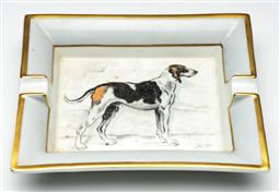 Sale 9211 - Lot 22 - An Hermes Ashtray with a Painted Hunting Dog (19cm x 15.5cm)